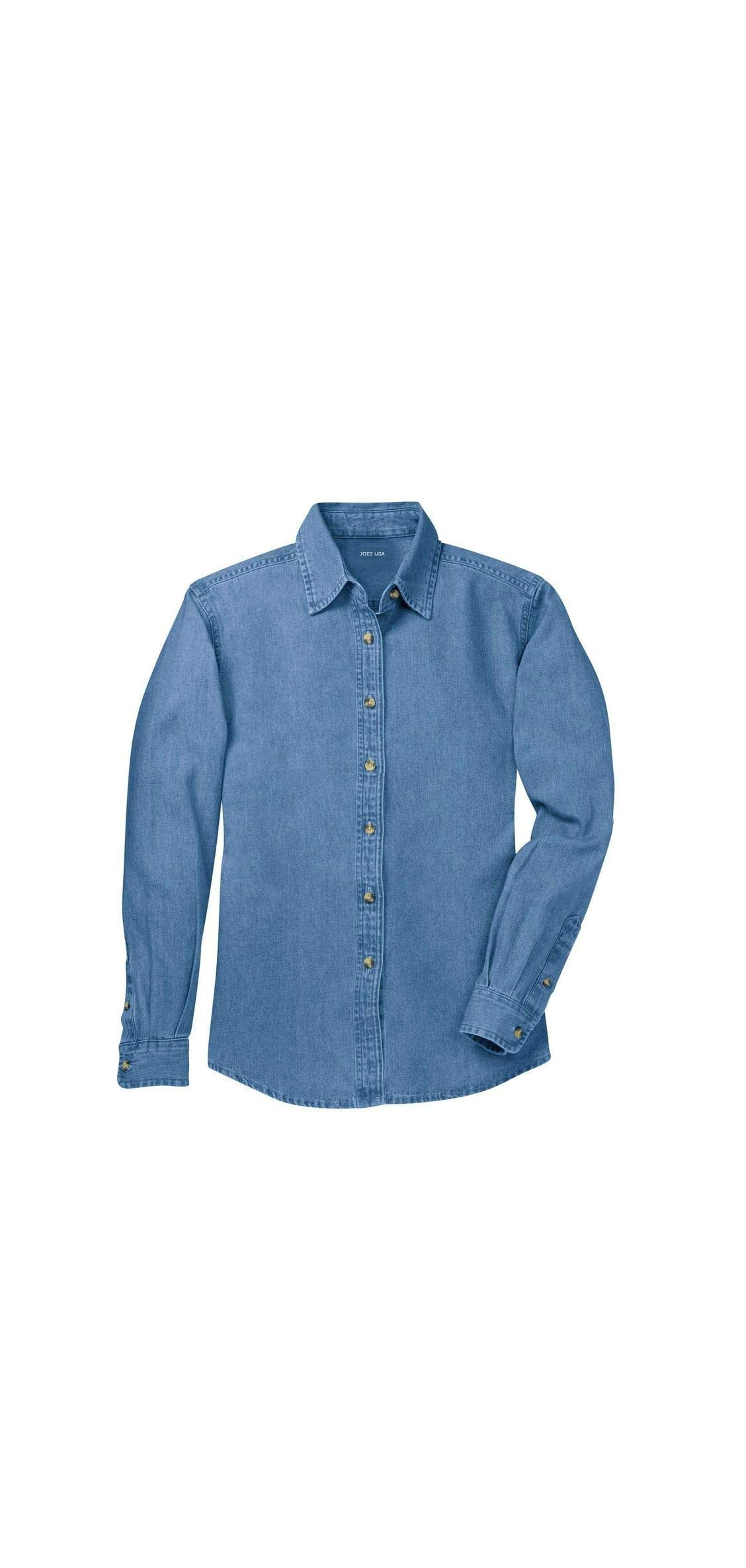 Ladies Long Sleeve Value Denim Shirts In Sizes Xs-xl