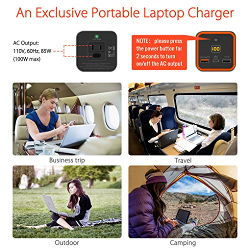 AC Outlet Portable Laptop Charger (TSA-Approved), Jackery PowerBar 77Wh/20800mAh 85W (100W Max.) Travel Laptop Power Bank & External Battery Pack for HP, Notebooks, MacBook and Other Laptops by Jackery (Image #2)