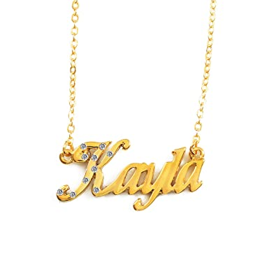 00a3e4ffdfcb5 Name Necklaces Kayla - Personalized Necklace Gold Plated 18K, Belcher  Chain, 2mm Thick