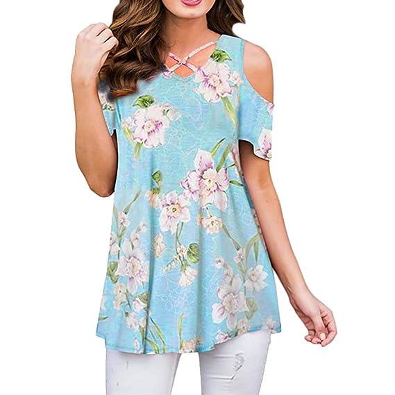 K-Youth Top Mujer Fiesta Camisetas Mujer Originales Verano Sexy Estampado Floral Blusa Mujer Manga