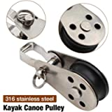Stainless Steel Pulley Small Pulley, 316 Stainless Steel Marine Grade Kayak Canoe Pulley Reduce Load Flexible Pulley…