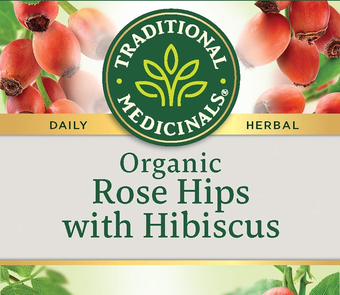 Traditional Medicinals Rose Hips with Hibiscus, Herbal Tea, Organic, 16 CT (Pack of 3)