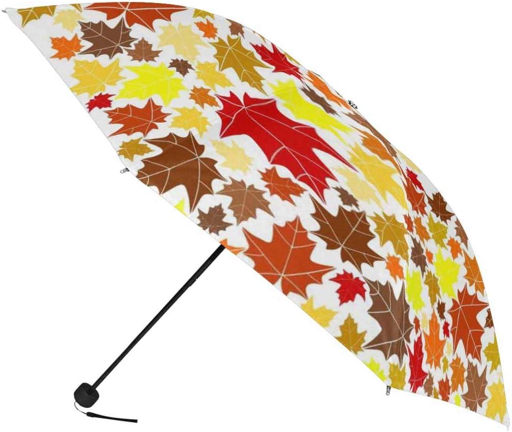 InterestPrint Custom Autumn Maple Leaf Anti Sun UV Foldable Travel Compact Umbrella