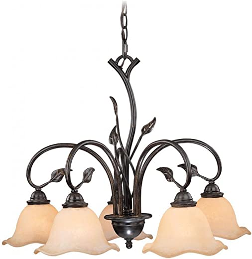 Vaxcel CH38805OL Vine 5 Light Chandelier, Oil Shale Finish