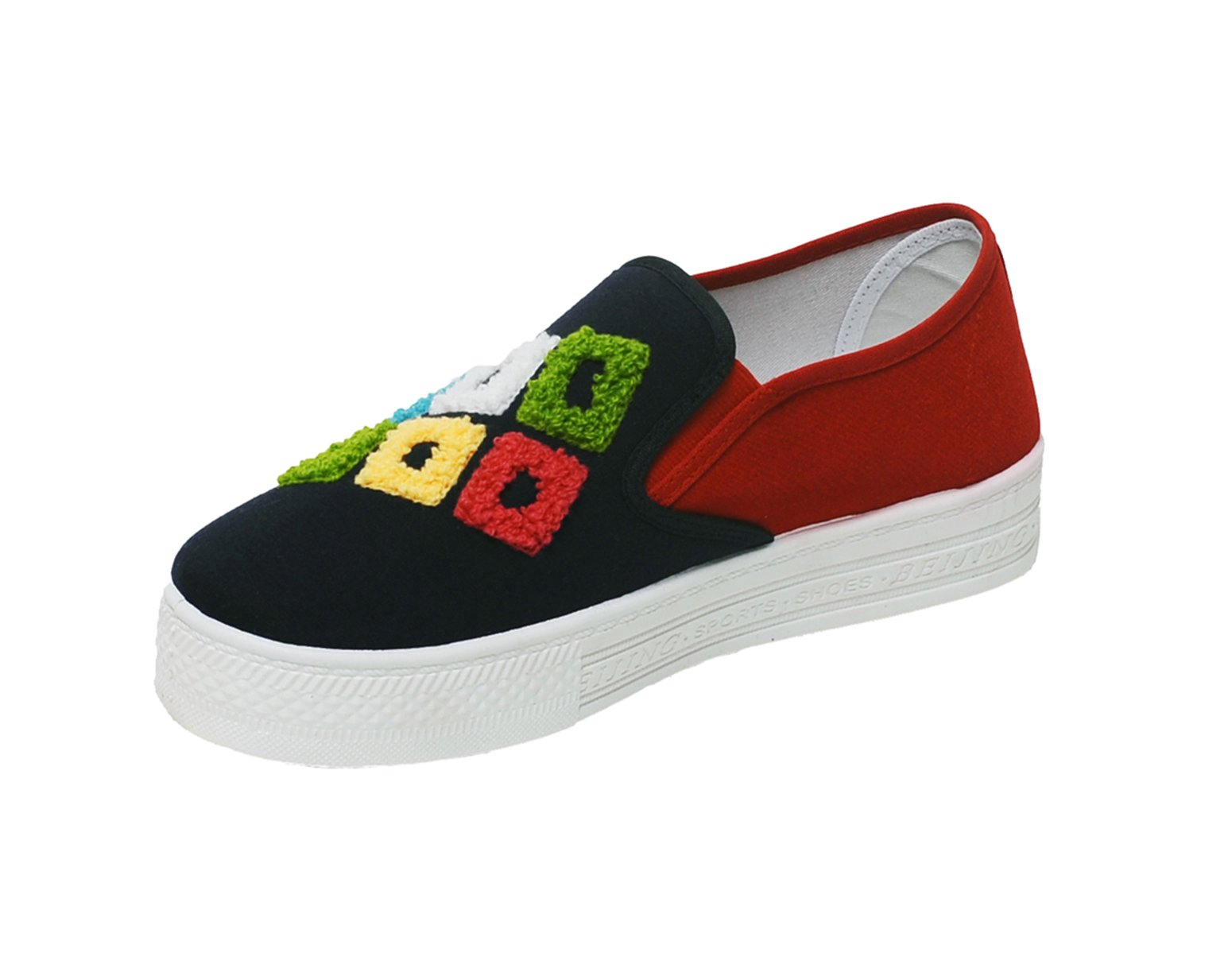 AUGA Rock Style Classic Graffiti Doodle Slip On Low Top Canvas Fashion Sneaker Casual Platform Flat Shoe For Women(Red,7.5 B(M))