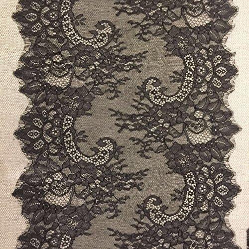 "- ELLA MAMA Lace Trim DIY Craft Ribbon 14-1/4"" x 3 Yards Eyelash Scallop Edge Table Runner, Sewing Applique craft Wedding Decoration Soft Fabric (BLACK)"