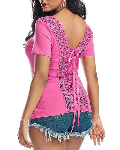Blusa Camiseta Casual Elegante Verano Playa Cordón Mangas Cortas para Mujer