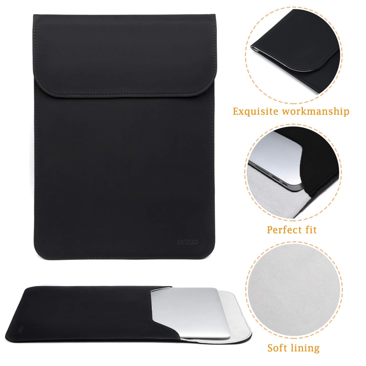 Faux Suede Leather-Dark Grey HYZUO 15 Inch Laptop Sleeve Water-resistant Protective Case Compatible with 15.4 Inch New MacBook Pro with Touch Bar 2016-2018 A1990 A1707 with Carrying Bag