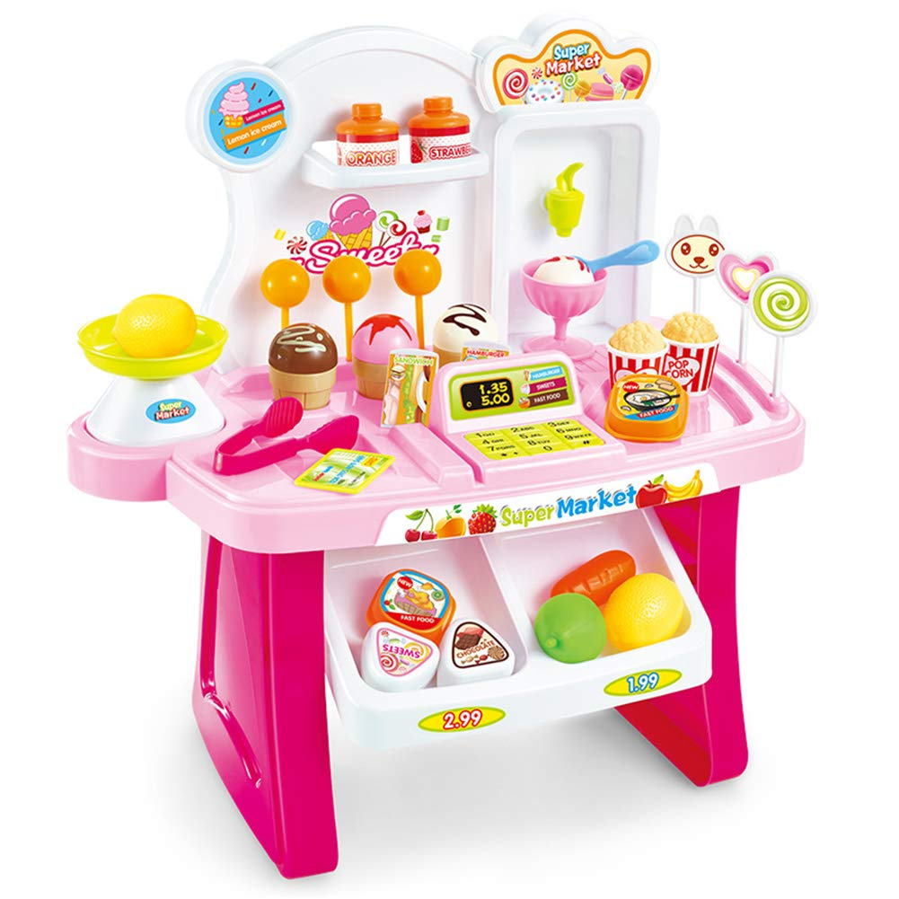 Studyset Children Multifunctional Toy Simulation Mini Supermarket Cashier Vendor Stall Play House Music Toys Birthday Pink