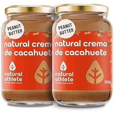 Crema de Cacahuete Natural Athlete 100% Cacahuete Sin Azúcar, Vegana, Sin Gluten, Sin Lactosa -Pack 2x500 g