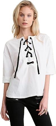 BoBajo Ribeteio Boho Chic Campesino Estilo Cordón Cordones Lazada en la Parte Delantera Cuello Media Manga Blusón Blusa Camisero Camiseta Camisa ...