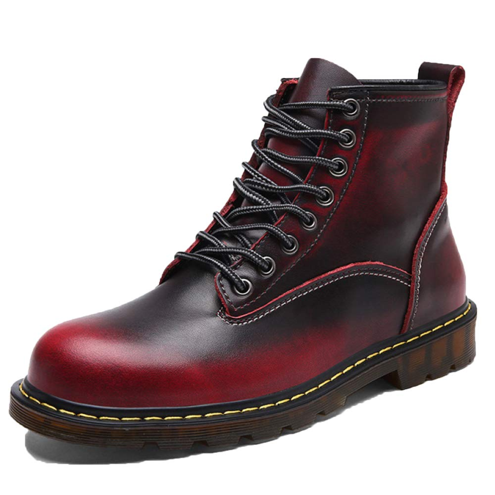 Red snfgoij Safety shoes Men Sneakers Waterproof Resistant Outdoor Martin Boots Leather Plus Velvet Ankle Boots Retro Large Size