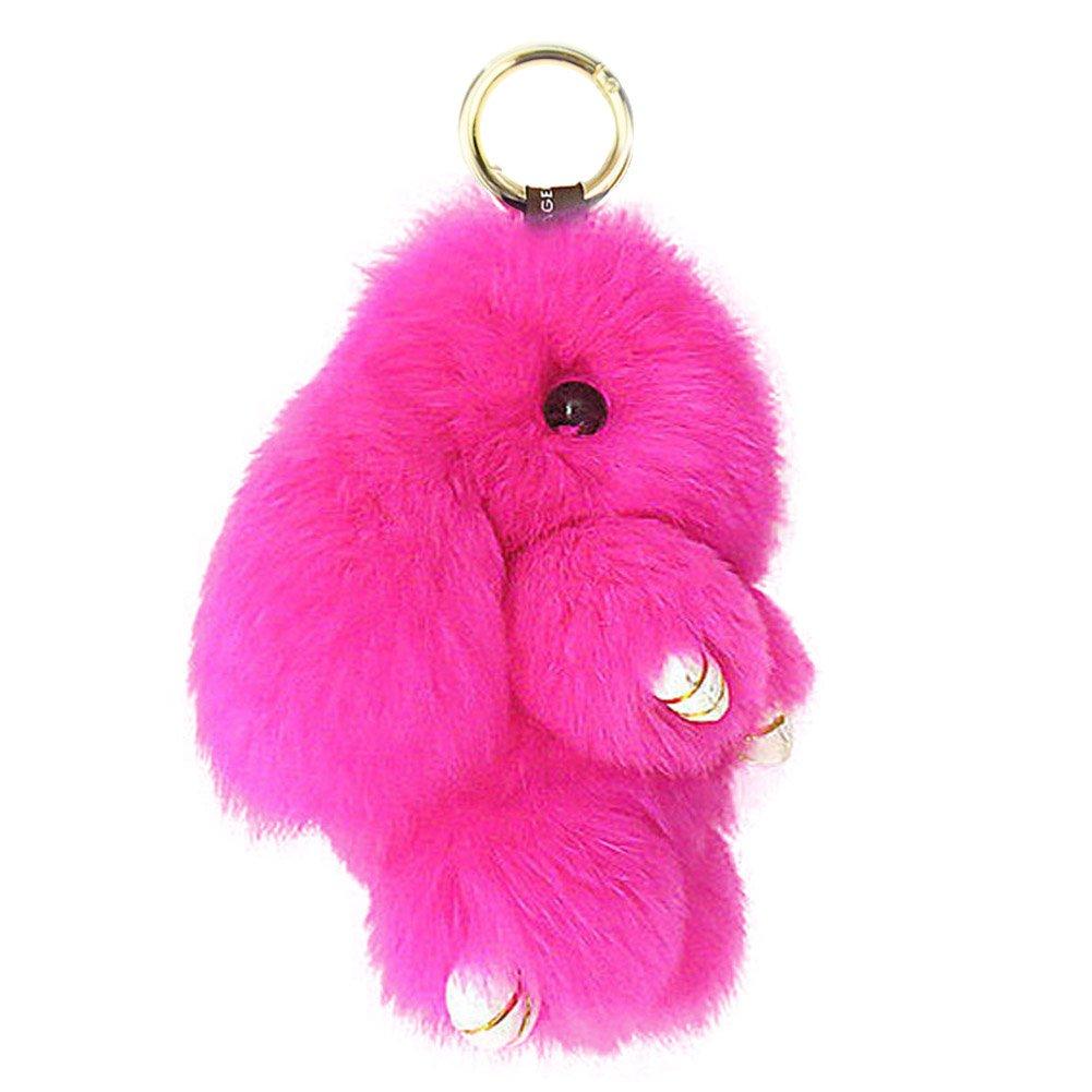 ACTLATI Soft Cute Bunny Charm Ring Keyfob Rabbit Fur Keyring Fluffy Pompom Keychain Decoration
