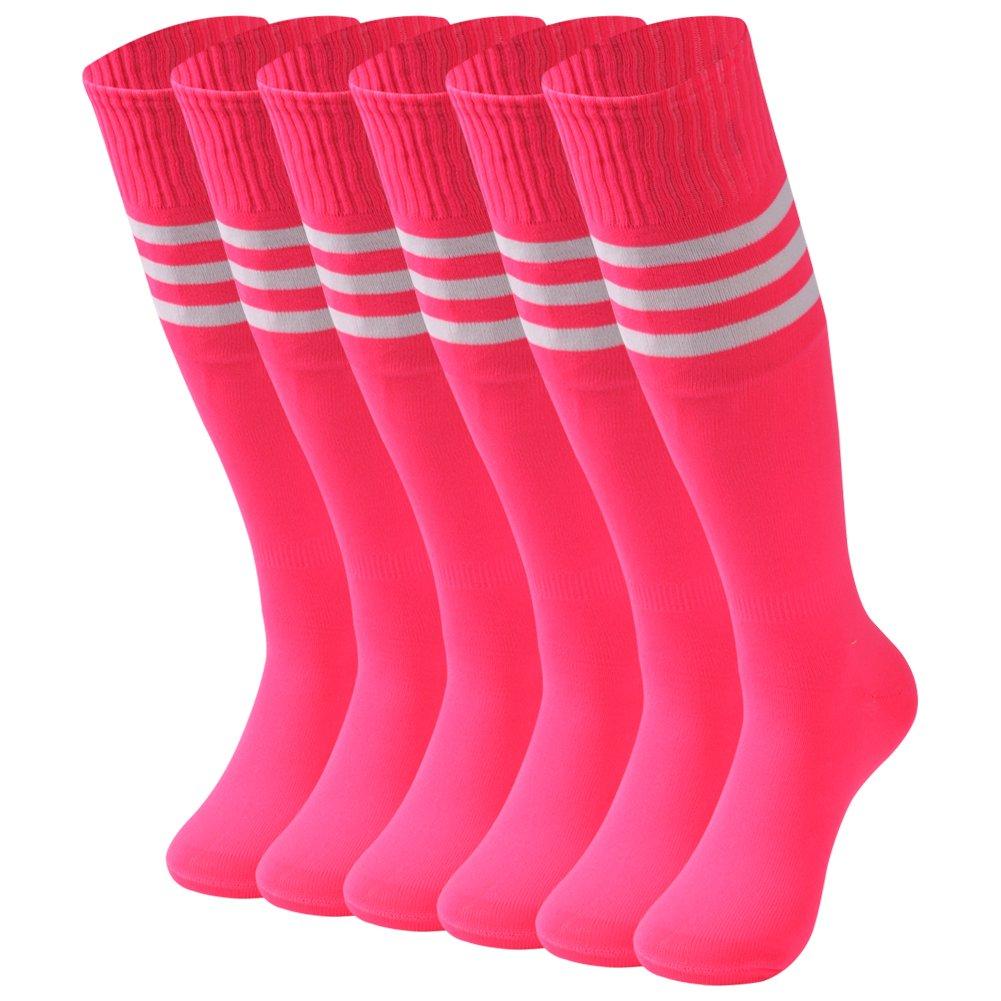 saounisi Woman Knee High Socks,6 Pairs Dress White Stripe Football Soccer Sports Tube Long School Uniform Socks Size 9-13 Rose Red by saounisi