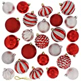 Festive 60 Piece Ball Christmas Ornament Set, Red & Silver