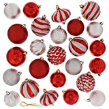 Festive 60pc Ball Christmas Tree Ornament Set - Red & Silver (Small Image)