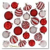 Festive 60 Piece Ball Christmas Ornament Set, Red & Silver
