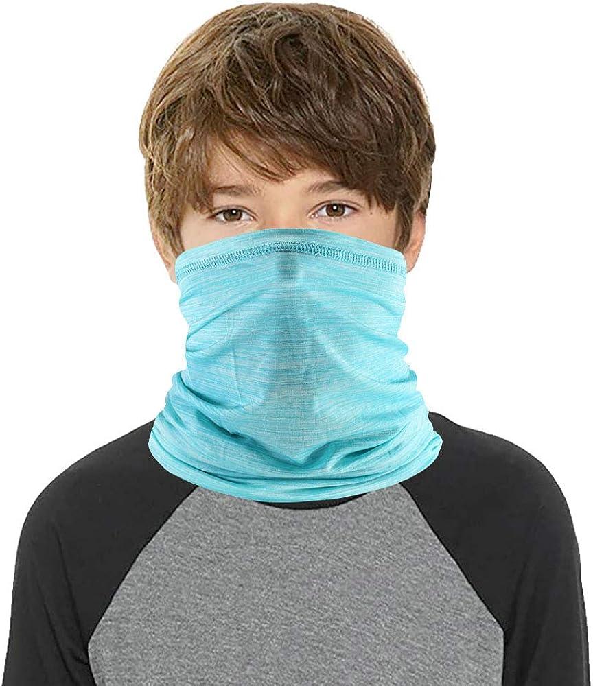 6 PiecesKid Face Mask Sun UV Protection Neck Gaiter Windproof Kids Face Scarf Bandana Face Masks for Kids