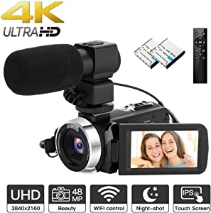 【Upgrade】 4K Camcorder Ultra HD Video Camera with External Microphone 48MP WiFi Digital Camera with Remote Control YouTube Camera 18X Digital Zoom Recorder with IR Night Vision, 2 Batteries