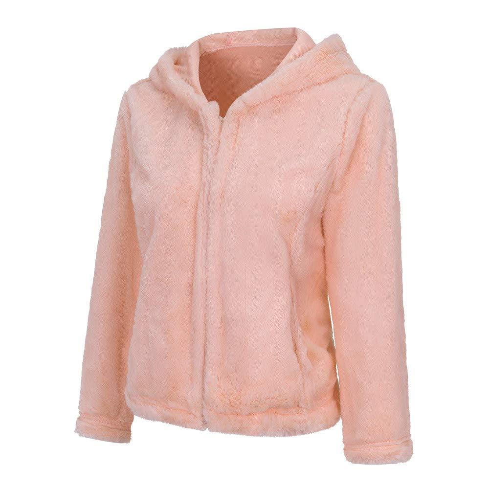 AOJIAN Women Jacket Long Sleeve Outwear Warm Hooded Open Front Plush Solid Coat