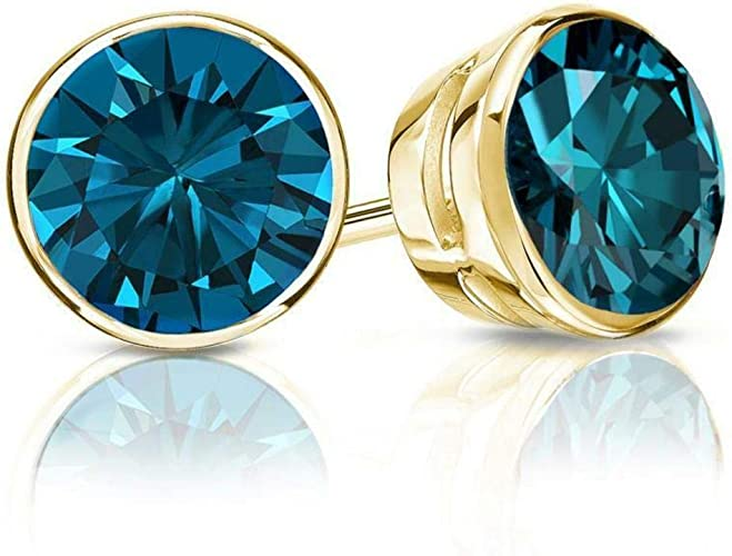 4 Ct Round Blue Earrings Studs Real 14K Yellow Gold Brilliant Bezel Screw Back