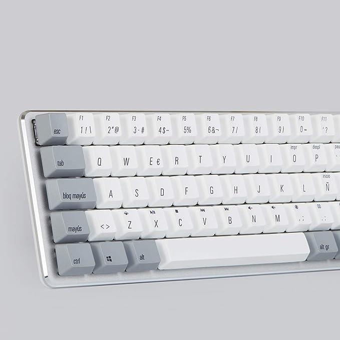 Qisan Teclado mecánico para juegos Teclas PBT 69 teclas Gateron Interruptor marrón Retroiluminado blanco ES Disposición Teclado para juegos-Blanco Gris ...