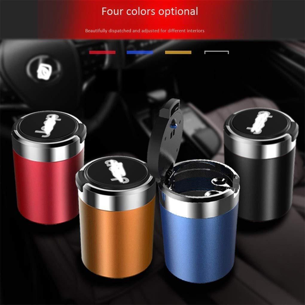 con logotipo,Blue con tapa interior multifunci/ón para autom/óvil con luz cilindro port/átil sin humo portavasos desmontable Cenicero para autom/óvil Cenicero para autom/óvil especial para jeep