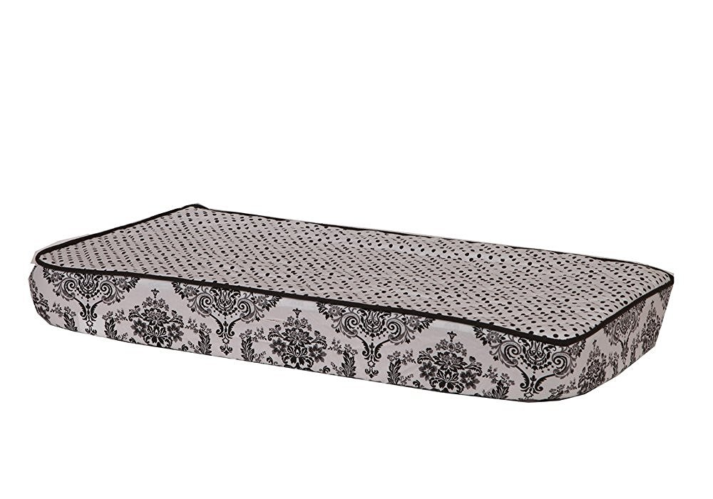 Bacati Classic Damask White/Black Pin Dots Changing Pad Cover CDBWCPC2