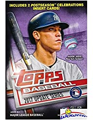 2017 Topps UPDATE MLB Baseball EXCLUSIVE HUGE Factory Sealed Hanger Box with 72 Cards including (2) Postseason Celebration Insert Cards! Look for RC & Autographs of Aaron Judge, Cody Bellinger & More!