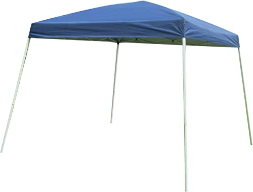HODDMIMIS Easy Pop-up Canopy Slant Leg Instant Tent 10 x 10 ft Carry Bag Blue