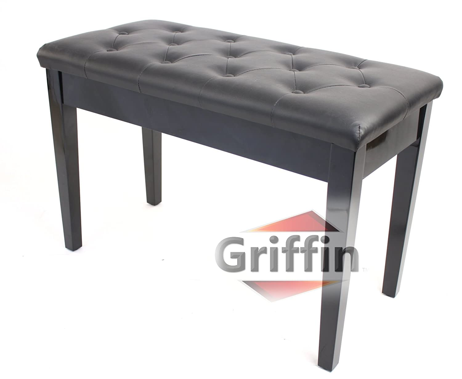 Antique piano chair - Premium Antique Black Piano Bench By Griffin Solid Wood Frame Luxurious Comfortable Leather Padded Duet Double Seat Ergonomic Keyboard Stool With