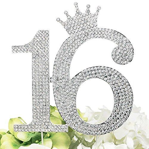 Princess Crown Monogram Cake Topper - Sweet 16th Birthday Party (Silver) ()