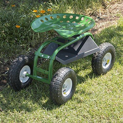 ARKSEN-Rolling-Garden-Cart-Adjustable-Height-Swivel-360-degree-Seat-w-Tray-Green
