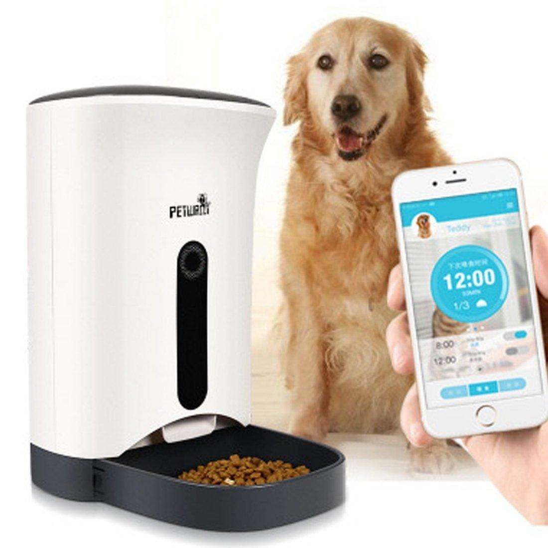 YongYeYaoBEN Alimentador automático para Mascotas DE 4,3 litros de Capacidad, Tiempo y Alimentación Racional, Tipo de Máquina de Alimentación Inteligente
