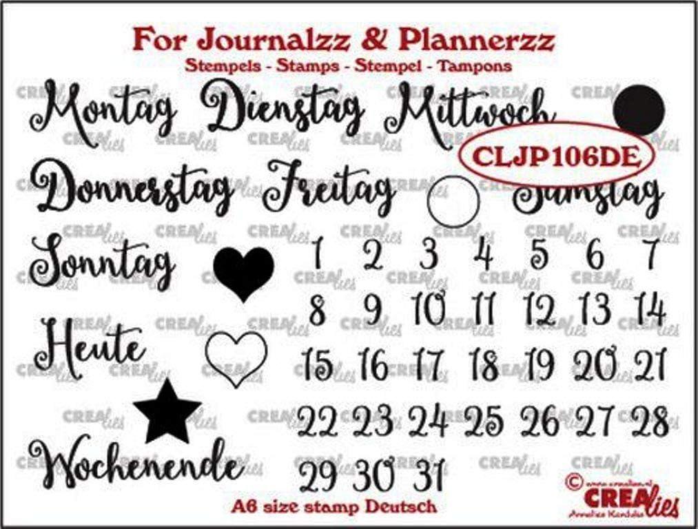 A6 Crealies Journalzz /& Pl Stempels Wochentage DE