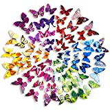 Mudder 6 Colors 3D Butterfly Stickers Wall Stickers for Home and Room Decoration, 72 Pieces Picture