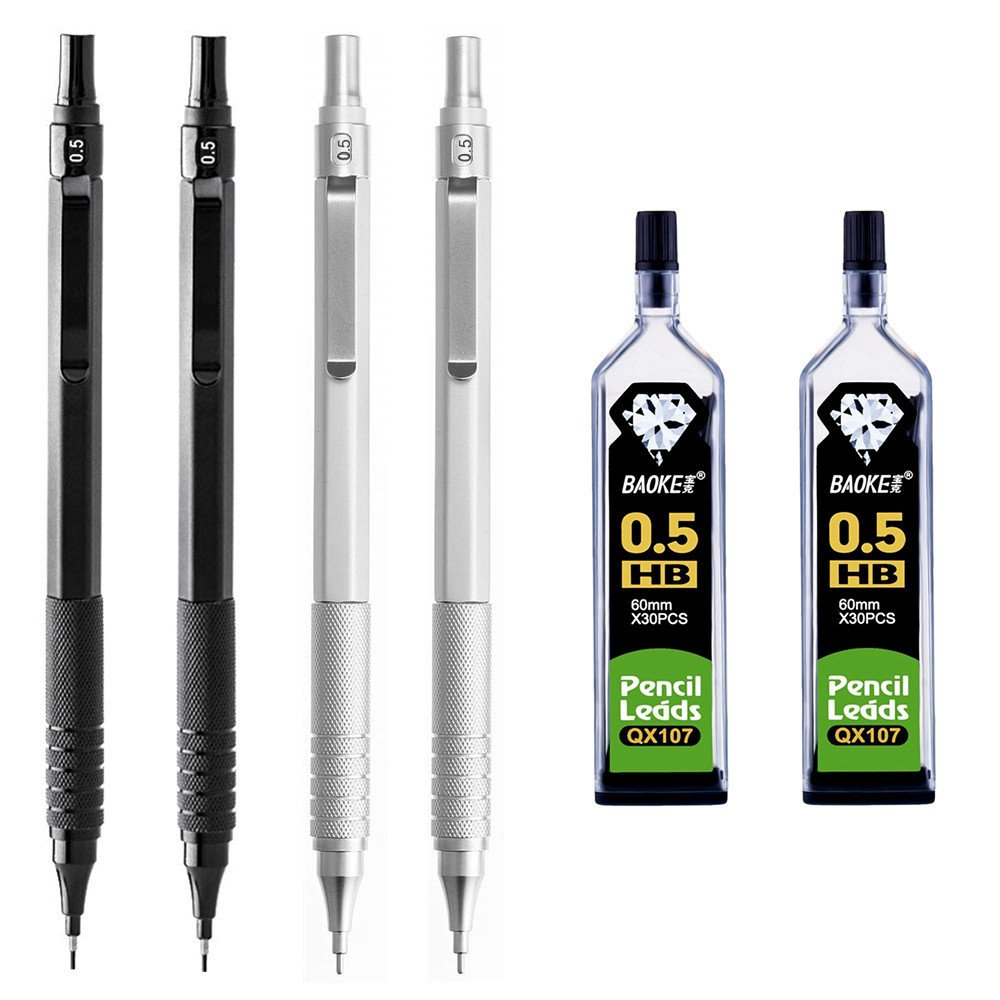 4 Pieces 0.5mm Mechanical Pencils with 2 Tubes HB Lead Refills for Students Writing Drawing Signature, Black and Silver
