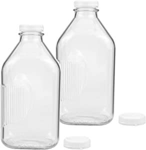 Bekith 2 Pack 2-Quart Glass Milk Bottles with Side Grip, Clear Glass Beverage Bottles Half Gallon Jugs with Snap-on Lids