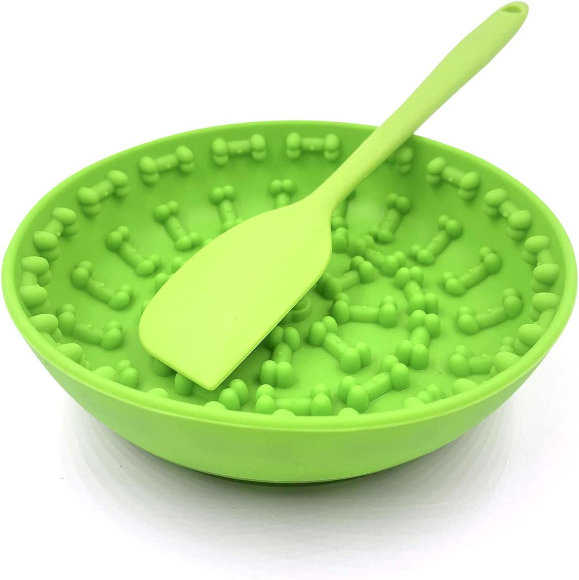 NKZ Slow Feeder Dog Bowls, Suction Cup Medium Large Sized Dog Lick Mat Puppy Puzzle Food and Water Slow Feeder Bowl for Dogs (Green)