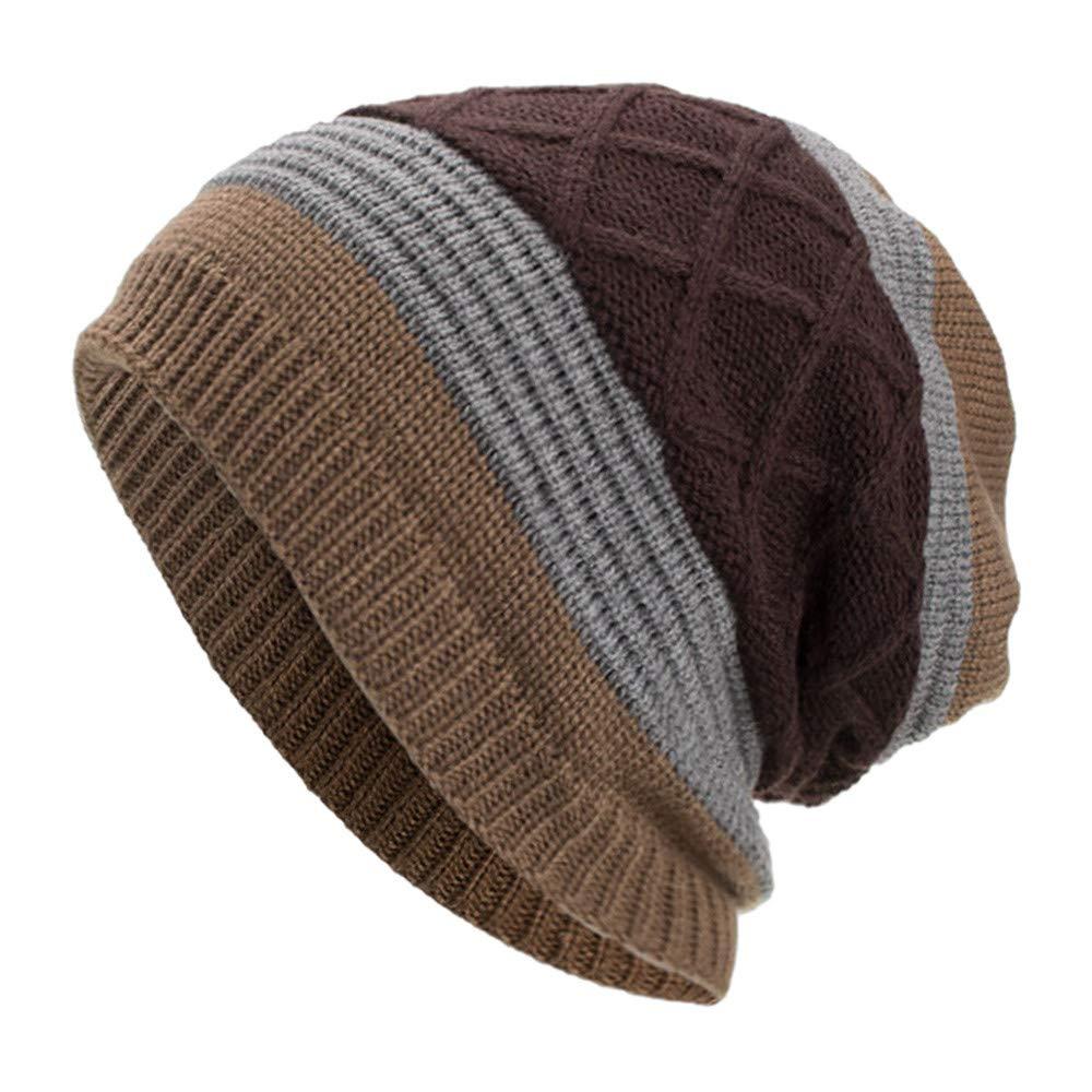 WUAI Deals,Women Men Winter Knit Warm Flexfit Hat Stripe Ski Baggy Slouchy Beanie Fashion Skull Cap (Coffee)
