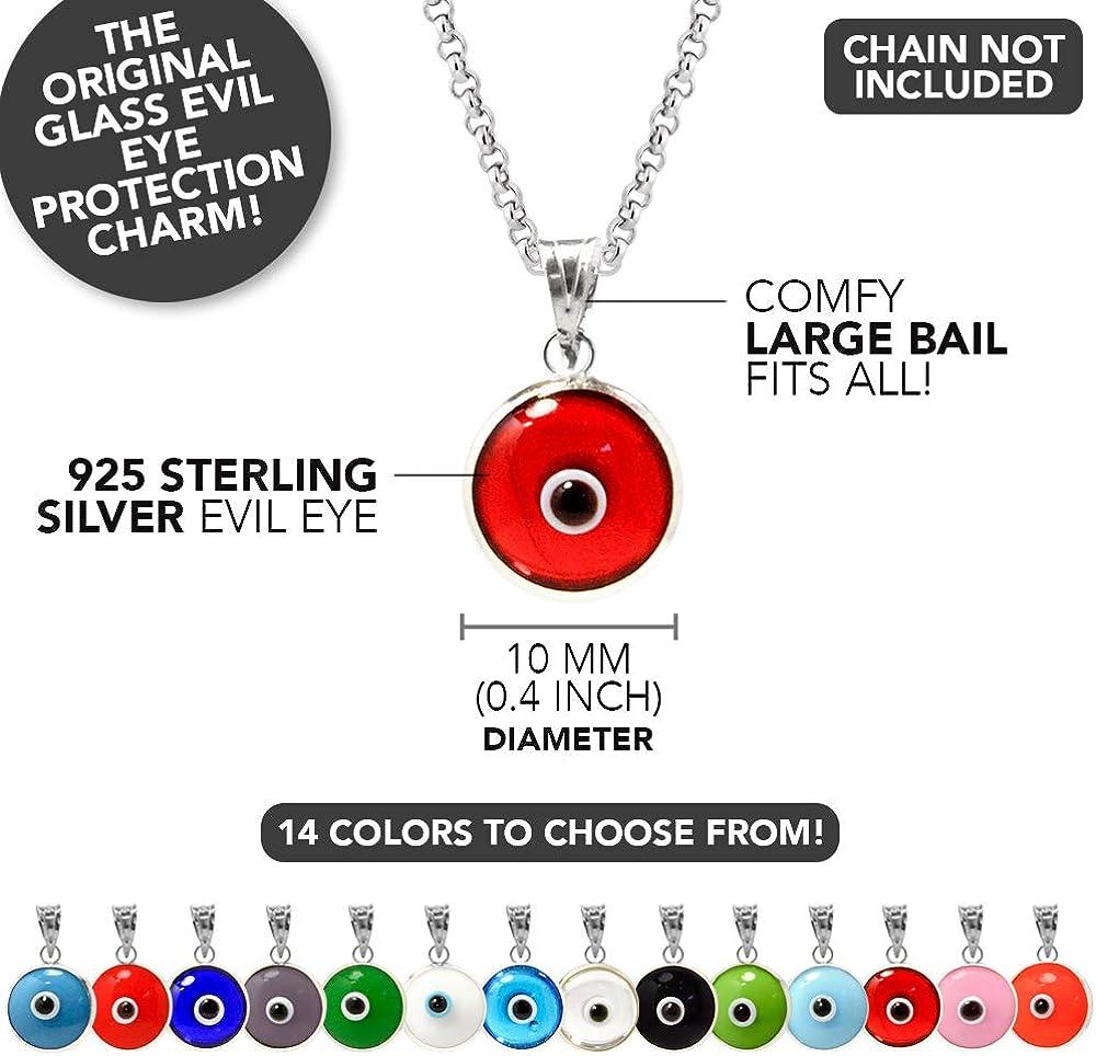 14 Farben erh/ältlich 10 MM Glas Evil Eye Charm Anh/änger in 925 Sterling Silber
