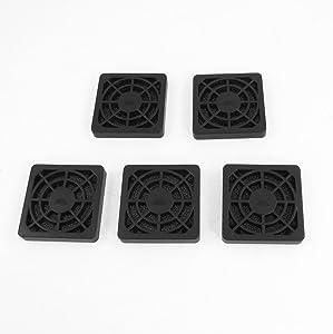 uxcell 5 Pcs Computer Desktop Dust Proof Plastic Washable 4cm Fan Shield Filter Black