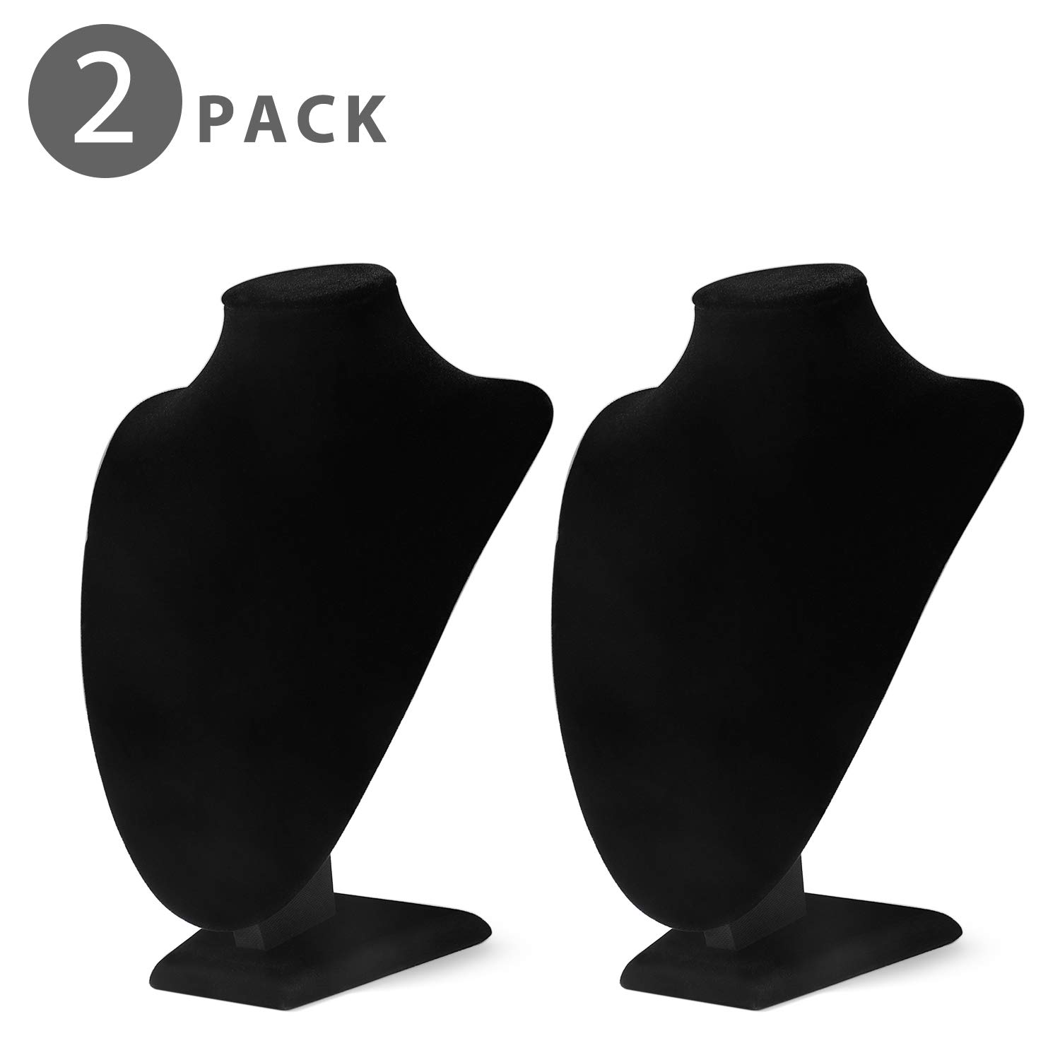 Flexzion 2 Pack Velvet Necklace Jewelry Display Bust Stand - Freestanding Pendant Chain Chokers Lockets Holder Organizer Storage Hanging Supplies 9.5'' Tall x 7'' x 5.3'' for Women Girl Retail (Black)