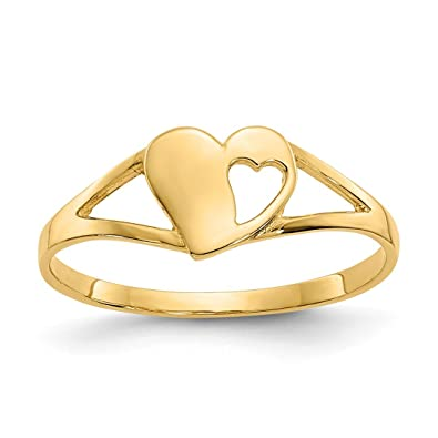 7af3ac215 Image Unavailable. Image not available for. Color: 14k Yellow Gold Heart  Baby Band Ring Size 2.00 Fine ...