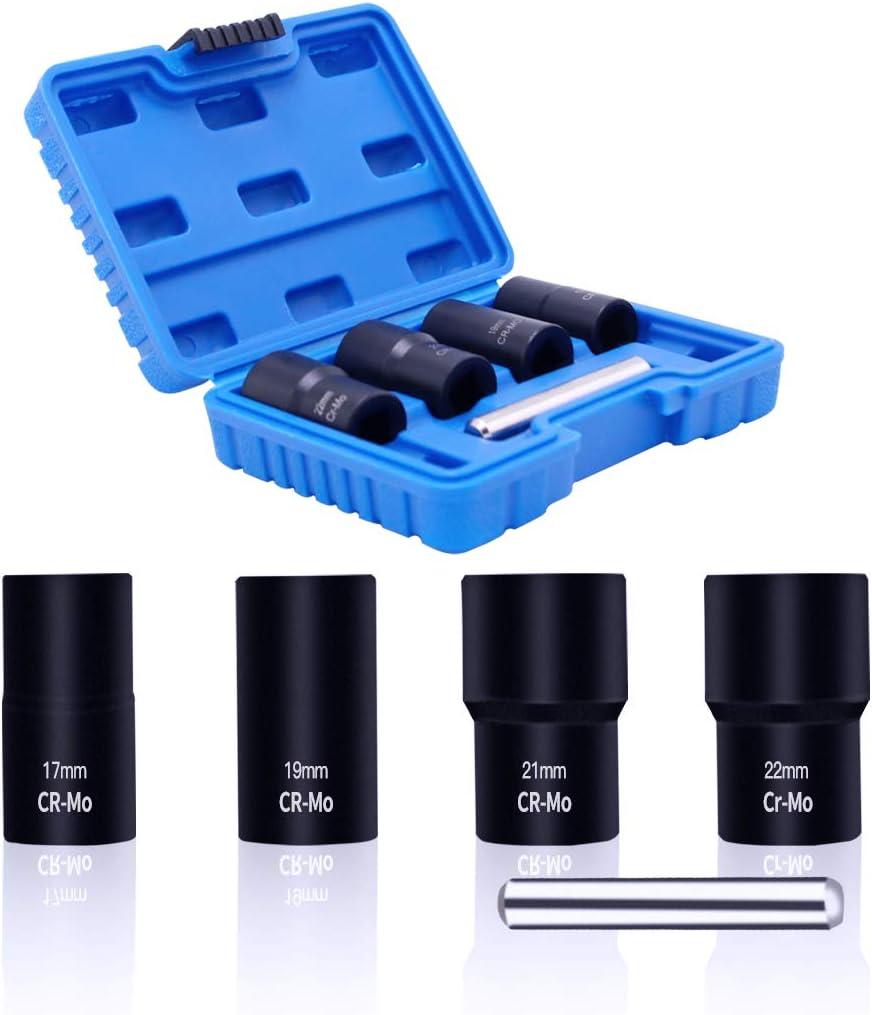 MacWork 5-Piece Twist Socket Set Lug Nut Remover Extractor Tool Metric Bolt and Lug Nut Extractor Socket Tools