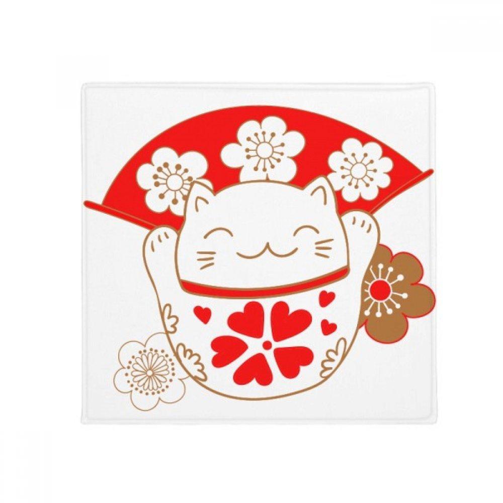 DIYthinker Cherry Blossoms Lucky Fortune Cat Japan Anti-Slip Floor Pet Mat Square Home Kitchen Door 80Cm Gift