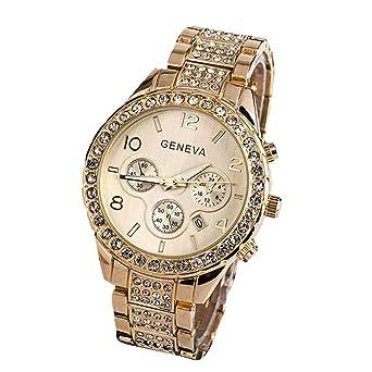 HULKY Geneva - Reloj de pulsera analógico de cuarzo con calendario de diamantes y correa de