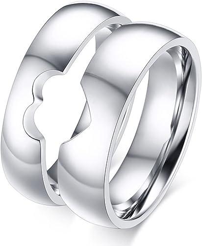 AnazoZ Anillo para Hombre Acero Inoxidable Temperatura Anillos de Compromiso Hombre y Mujer Plata