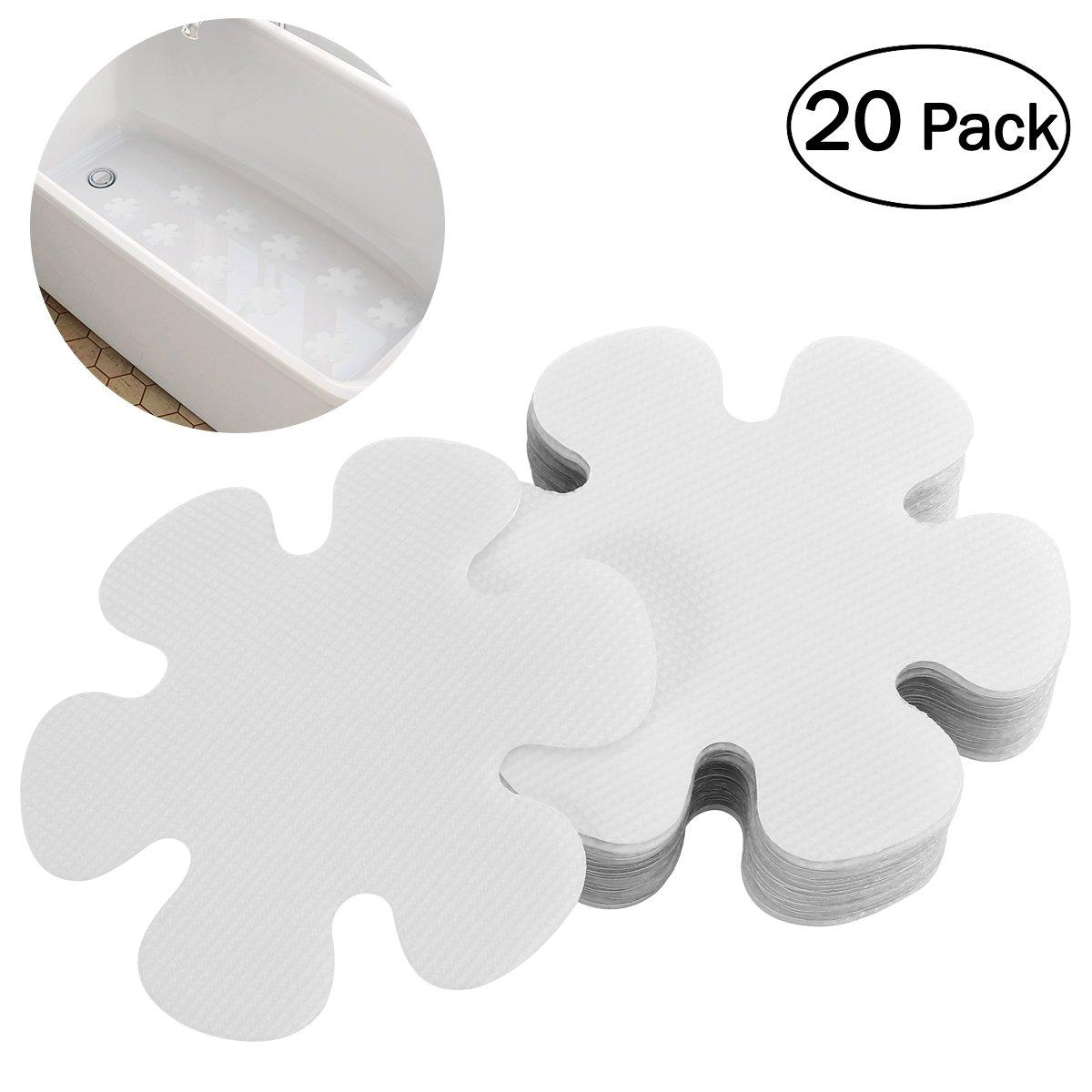 OUNONA 20 PCS Non-Slip Safety Shower Treads 10CM PEVA Anti-slip Discs Tape Non Slip Stickers for Tubs Bath (Clear)