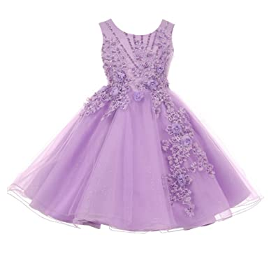 82d6422b5ad Cinderella Couture Little Girls Lavender Pearl Beaded Glitter Tulle Flower  Girl Dress 2